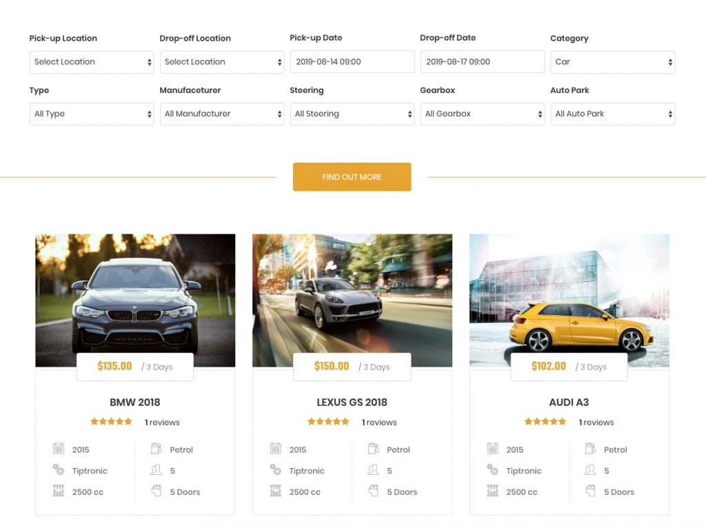 car rental wordpress theme - booking search form