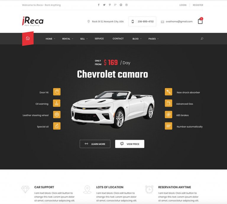 car rental wordpress theme ireca