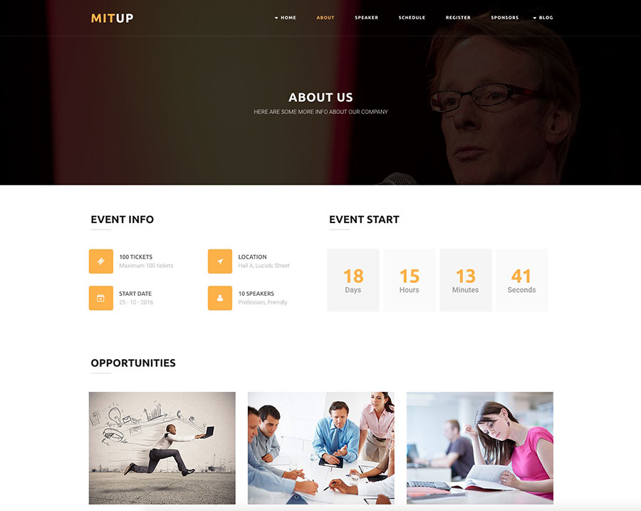 Event Landing Page WordPress Theme – MitUp Template