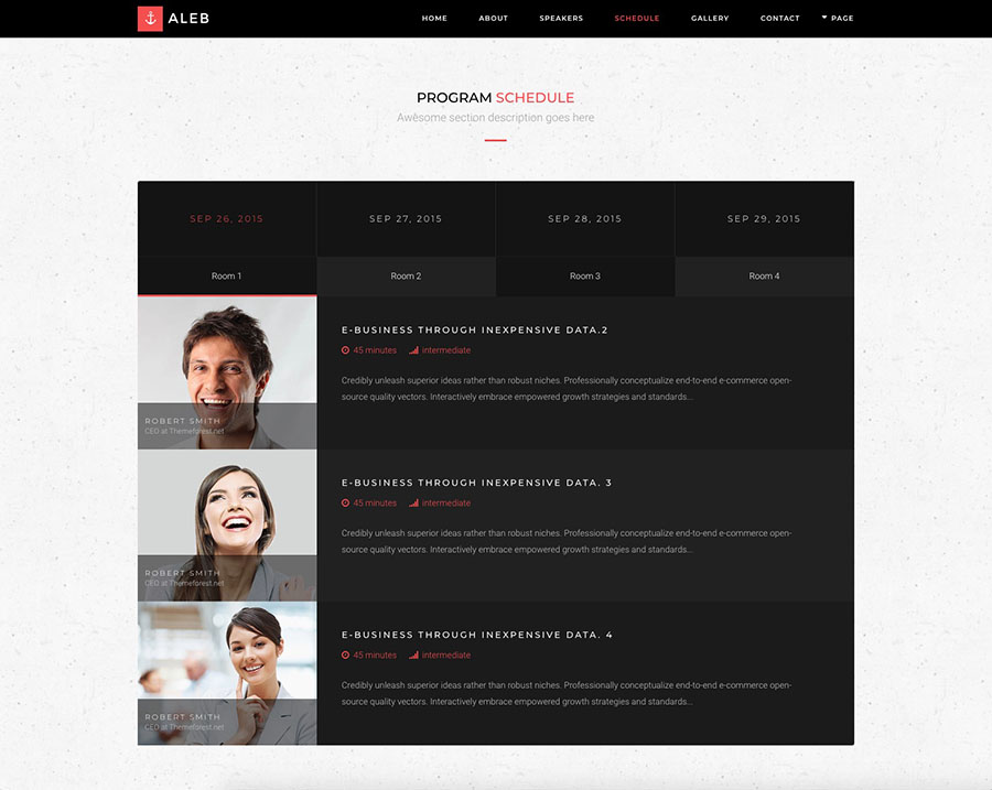 Aleb Event Conference Onepage WordPress Theme