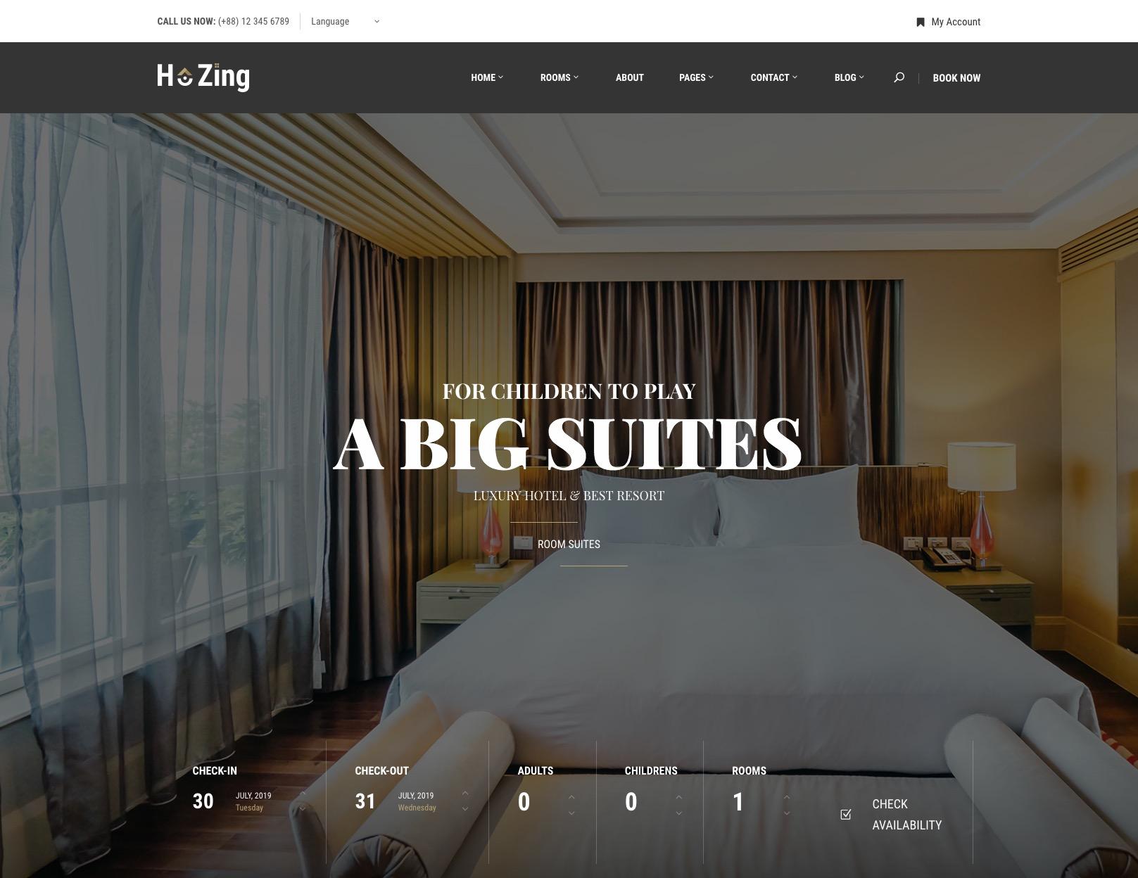 Hotel Booking WordPress Theme – Hozing Template
