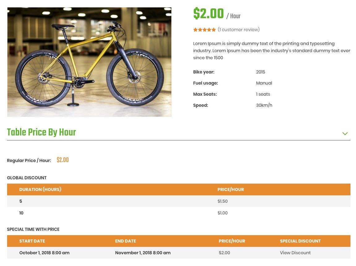 Review bike rental wordpress theme – Ireca