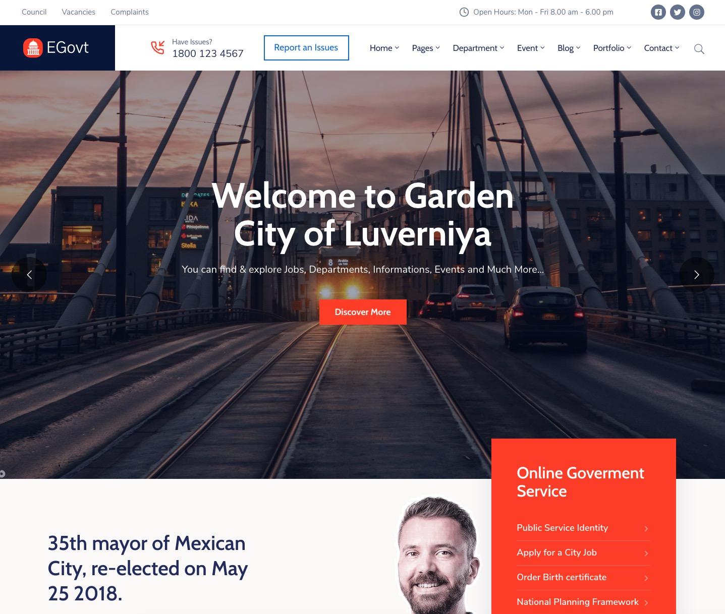 EGovt – City Government WordPress Theme