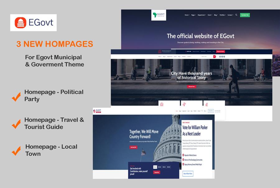 3 New Homepages Were Added In Egovt Municipal WordPress Theme